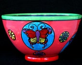 Butterfly  Serving Bowl Pink and Blue