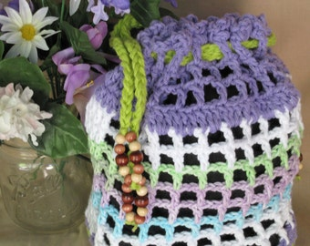 Tote Bag  purple and variegated colors Beach bag Crochet