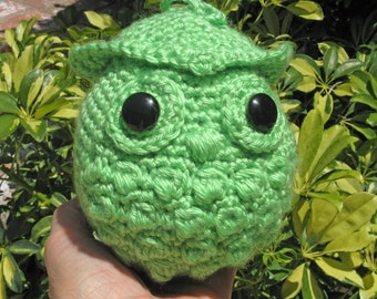 Round Owl graduation in lime green stuffed tassel optional Crochet  SALE