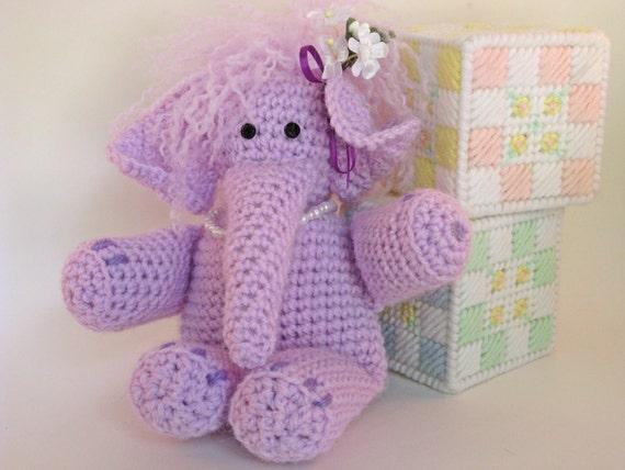 SALE Lavender Elephant  stuffed Crochet