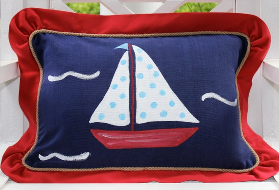 Sailboat Nautical Beach Pillow..Hand Painted