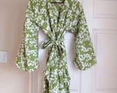Cotton Kimono Robe - Getting Ready Robe - Dressing Gown - Knee Length - Summer Robe - Chartreuse Robe - New Mommy Robe -