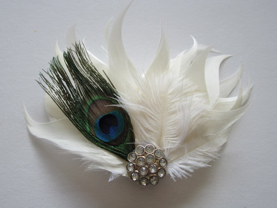 Beautiful Handmade White feather Fascinator with ostrich Feathers and Rhinestone Wedding Fascinator