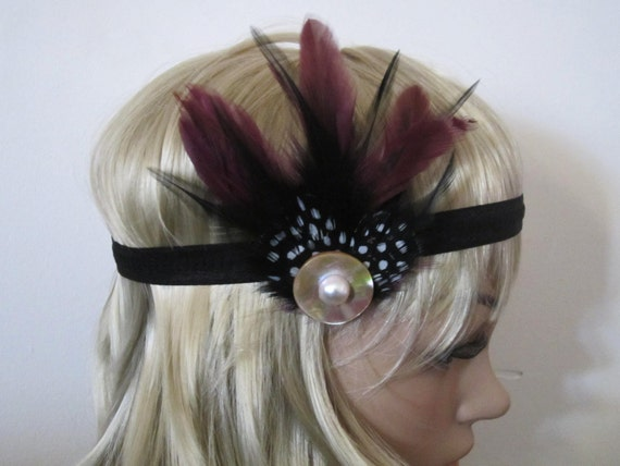 1930's Black and purple Feather flapper style Headband