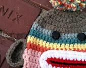 Child Sock Monkey Hat in Pink Rainbow