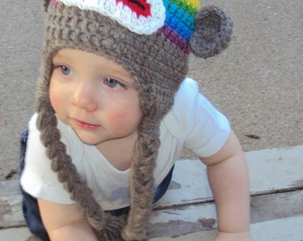 Child Sock Monkey Hat in Rainbow