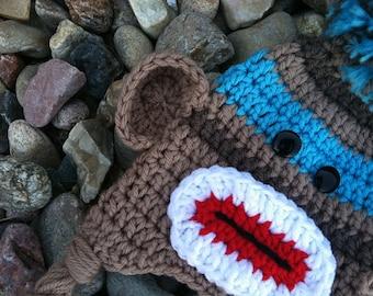 Baby Sock Monkey Hat in Blue