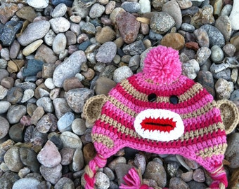 Sock Monkey Hat for Girls