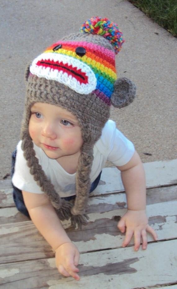 Child Sock Monkey Hat in Rainbow