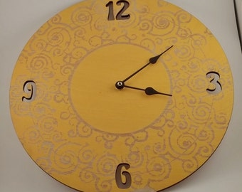 Yellow Engraved Sun Wall Clock