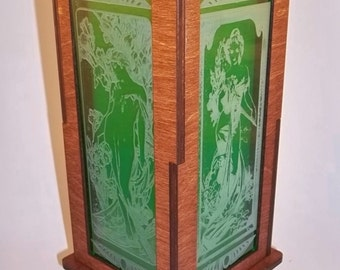 Mucha Art Nouveau Accent Lamp, Green