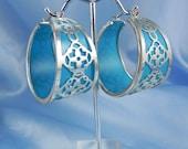 Big Hoop Silver Blue Earrings