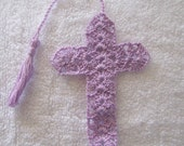 LILAC CROSS BOOKMARK - Hand Crocheted