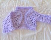 CLEARANCE SALE - Lilac Bolero Sweater- Crocheted Sweater 0-3 months