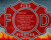 Firefighter Birthday Invitation - Fireman - Fire Shield Graduation Party Printable Invite