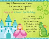 Princess Dragon Birthday Invitation Sibling Boy Girl Party Invite Digital or Printed