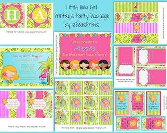 Hula Girl Birthday Party Package Printable Custom