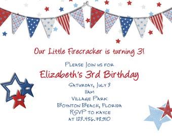 July 4th Patriotic Birthday Invitation Printable and Custom
