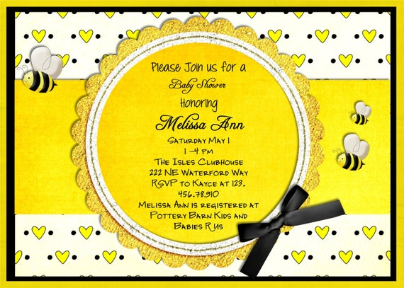 yellow baby shower invitations  gangcraft, Baby shower