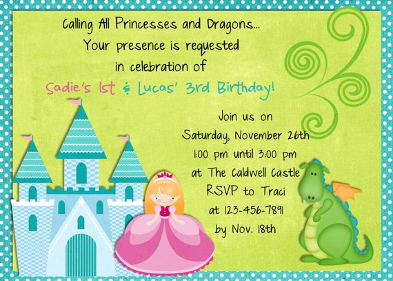 Princess Dragon Birthday Invitation Sibling Boy Girl Party Invite Digital or Printed