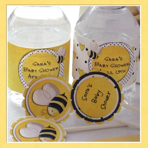 Bee Baby Shower Party Water Bottle Wrap Labels