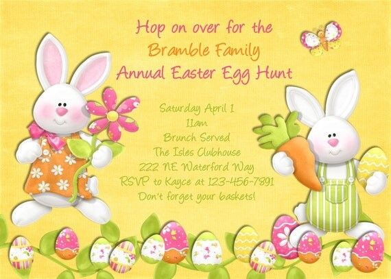 items similar to easter egg hunt invitation  printable and custom, party invitations