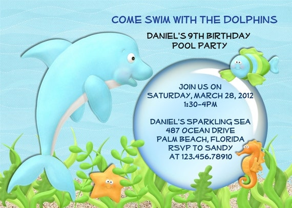 Dolphin and Fish Under the Sea Pool Party Birthday Invitation