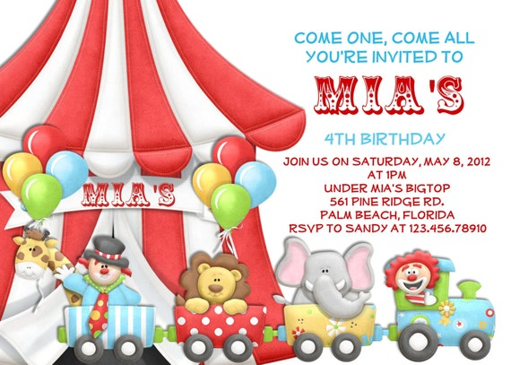 Carnival Circus Birthday or Baby Shower Invitation Circus Train and Bigtop Printable Custom Invite