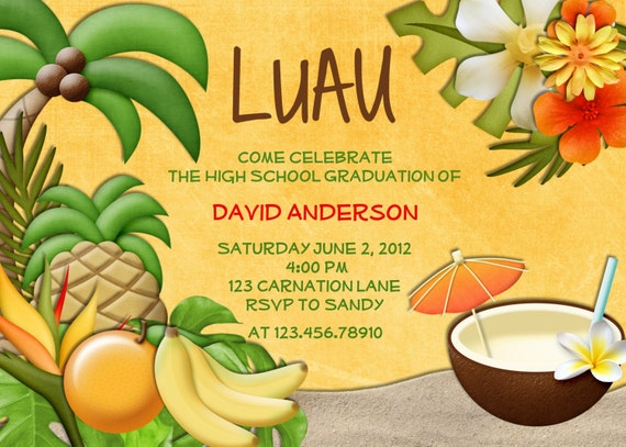 Tropical Themed Party Ideas Free Printables: Items Similar To Luau Party Birthday Invitation Tropical