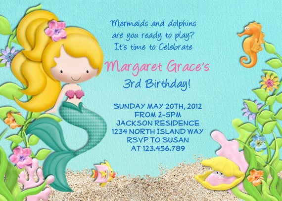 mermaid birthday party invitation under the sea birthday,