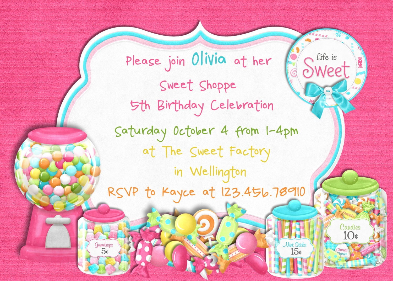 Candy Sweet Shoppe Girl Birthday Invitation by 3PeasPrints