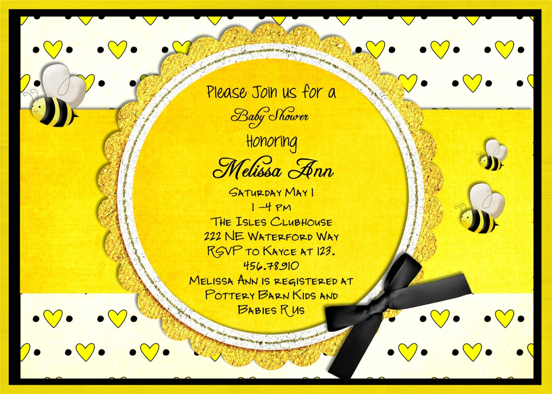 items similar to bee baby shower invitation yellow honey bee invite
