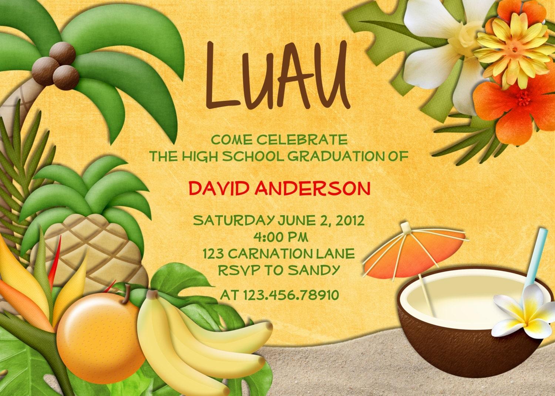 Luau Party Birthday Invitation Tropical Hawaiian Hula Custom – Hula Party Invitations