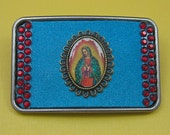 GUADALUPE turquoise suede leather red rhinestones belt buckle graphic image by Crazy Daisy Rocks