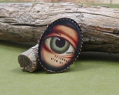 LYIN EYES vintage anatomical photo adjustable bronze plated ring by Crazy Daisy ROCKS