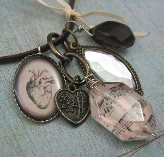 UNCHAINED MELODY hearts and music leather gemstone charm necklace by Crazy Daisy Rocks