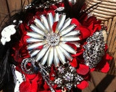 24 hour SUPER SALE - Red, white, silver, and black Bridal Brooch Bouquet - ready to mail - now 125.00 till 11 am Central/Standard tomorrow