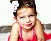 Flower Girl's Hair Clip, Pink Hair Bow, Girls accessory, Sparkle Bow, Dreamy, Girls Gift, Modern Hair Bow, Light Pink