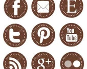 Brown Web & Blog Buttons: 9 Social Media Buttons For Your Blog