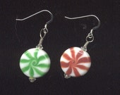 FosterFire: Peppermint Christmas Earrings, lampwork beads, SRA, made in USA by me