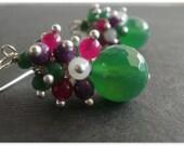 Green Agate with Purple Jade, Fuchsia Jade, White Agate Bead, Green and Jade Rondelles Cluster Earrings