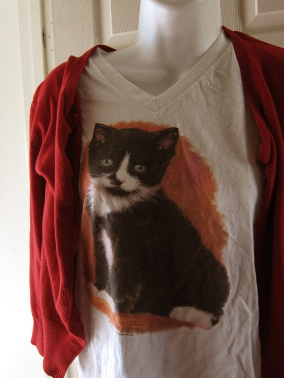 Hipsterfied Kitty Cat Shirt - Large