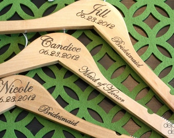5 - Notched Custom/Personalized Wedding Hanger with Arm Inscription - Wooden