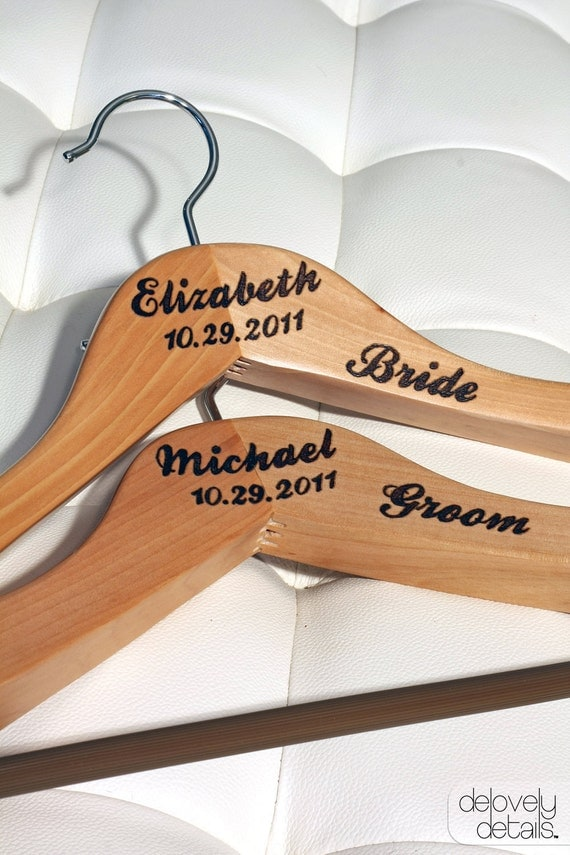 Customized/Personalized Premium Hanger set for Bride's wedding dress and Groom's Tux/Suit - Wooden