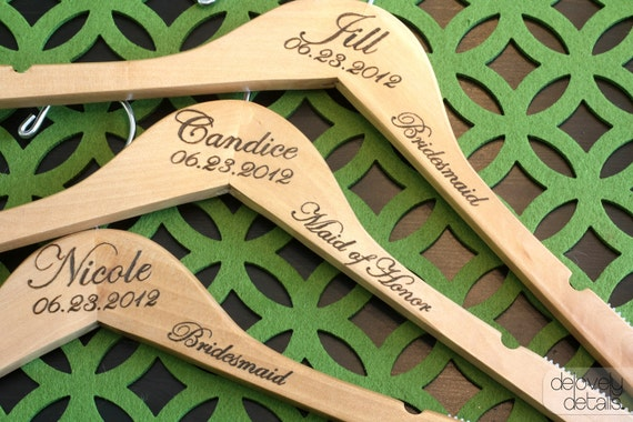 1 - Notched Custom/Personalized Wedding Hanger with Arm Inscription - Wooden