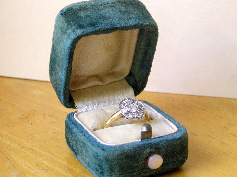 Sale 10 Off Antique Vintage Velvet Ring Box Case Mop Pushed