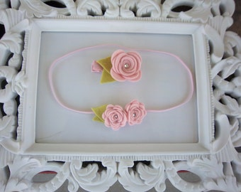 Mommy and Me Felt Rose Matching Hair Clip and Headband Set in Pink for Mothers Day or New Mommys Photo Prop
