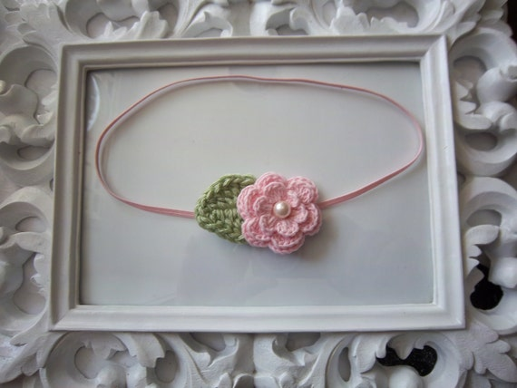Baby Pink Crochet Flower with Leaf Headband Newborn Infant Toddler Girl Spring Photo Prop -READY TO SHIP