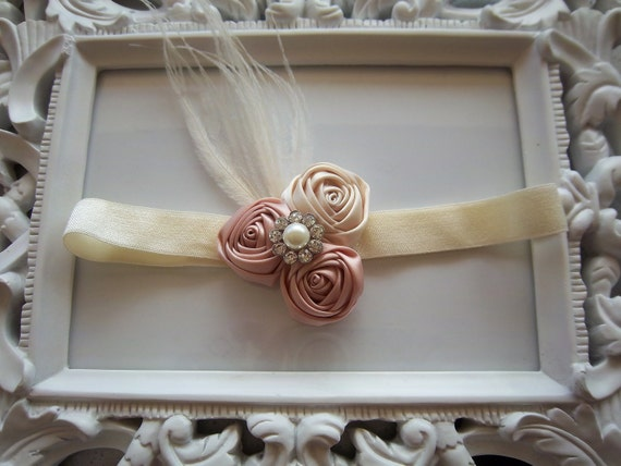 Vintage Inspired Ivory and Dusty Rose Mini Rosettes Pearl Rhinestone Center Headband Newborn Infant Toddler Photo Prop-READY TO SHIP