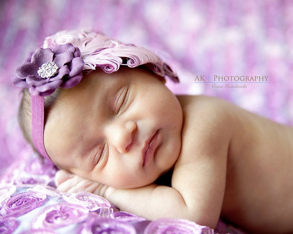 Pinkberry Purple Couture Shabby Chic Feather Headband for Newborns Infants Toddlers Girl Photo Prop-READY TO SHIP